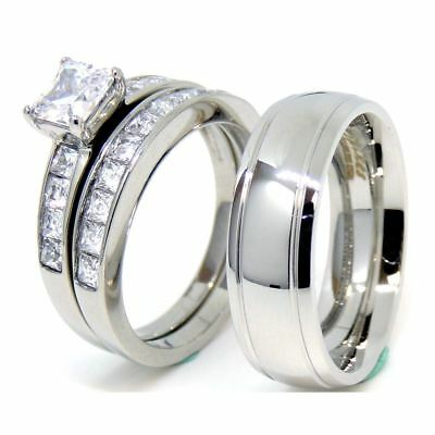 Couple Ring Set Womens Princess CZ Ring set Mens Dome Grooved Edge Band