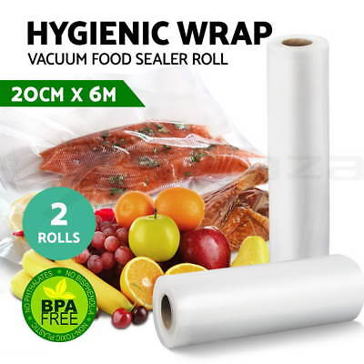 2x Vacuum Food Sealer Bags Roll Saver Storage Seal Heat Commercial 6m 20cm Wide