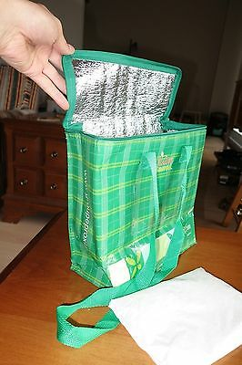 """GREEN 9"""" x 9"""" x 3"""" Insulated ICE BOX Cooler Bag w/ SOFT COOL PACK Lunch PICNIC M"""