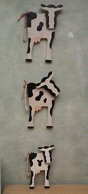 Three Cute Cow Plaques/ Wall Hangings Rope tails