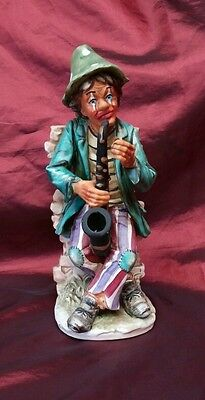 "Saxophone Playing Street Clown Norleans 10"" Ceramic Sculpture"
