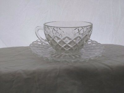 Vintage,Hocking Glass, Waterford or Waffle Pattern, Cup and Saucer, Clear