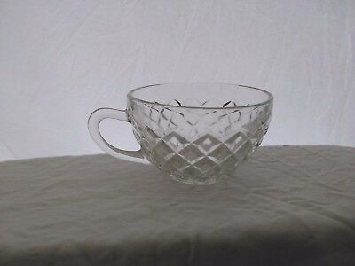 Vintage, Hocking Glass, Waterford or Waffle Pattern, Tea Cup, Clear