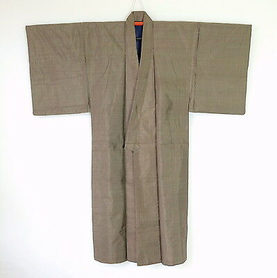 Vintage Japanese Men's Kimono Brown Silk Traditional H70
