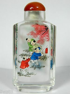 Chinese Hand Inside Drawing Crystal Snuff Bottle,Children Playing in Garden
