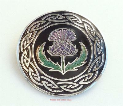 Thistle Brooch Sea Gems Jewellery Scottish emblem Scots flower silver plate NEW