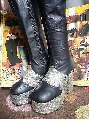 Vintage 1970's Glam Rock Knee Length Platform Boots Shoes.Bowie,Disco.S 3.5 to 4
