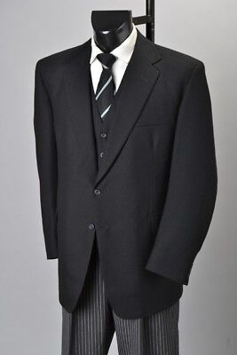 Bankers Semi-Formal Bristol Tailored Black Worsted Jacket & Striped Trousers CAR