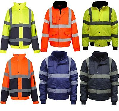 Mens Ladies Hi Viz Vis Visibility Work Waterproof Padded Hooded Jackets S To 5Xl