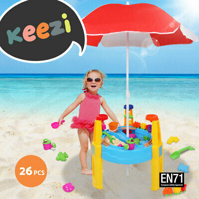 Kids Outdoor Umbrella Sand and Water Table Play Set Toys Beach Sandpit Summer