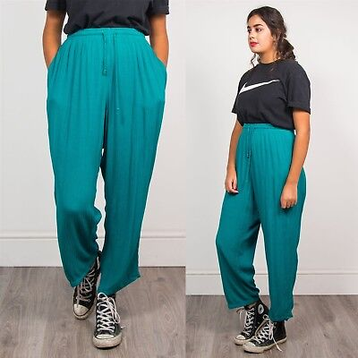 Womens Vintage 90's Teal Loose Fit Baggy Style Trousers Summer Wide Leg 22