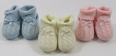 Baby Babies Girls Boys Booties Boots Socks Knitted Shoes Cotton Cream Bow Knit 6