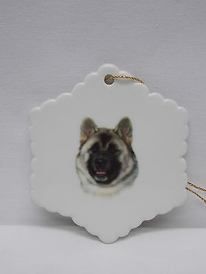 Akita Dog Snowflake Porcelain Christmas Tree Ornament Fired Decal-H