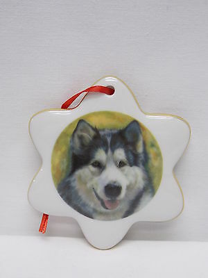 Alaskan Malamute Snowflake Porcelain Christmas Tree Ornament Fired Decal-R