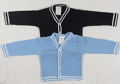 Baby Babies Boys Button Up V Neck Cardigan Navy Blue Stripe Knit Knitted 6 24 M