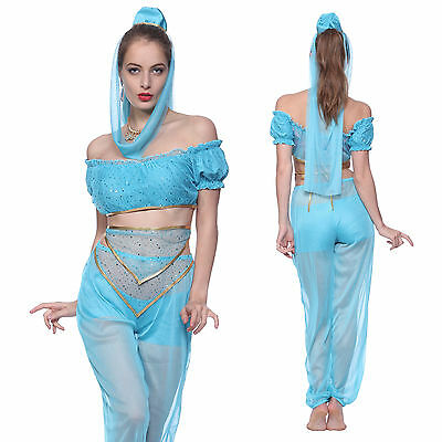 Prinzessin Jasmin Königin Bauchtanz Kleid Aladin 1001 Nacht Fancy Dress Kostüm