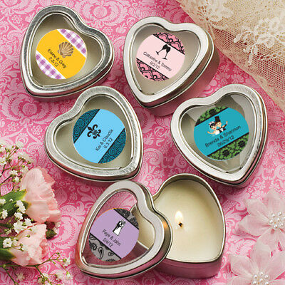 300 Personalized Silver Shaped Scented Candle Wedding Shower Party Gift Favors