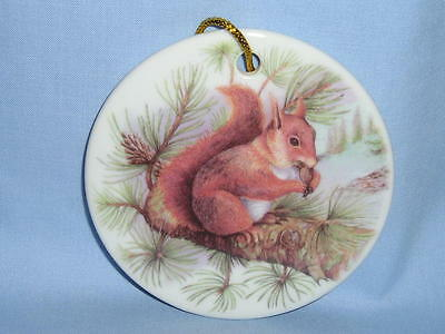 Red Squirrel 3 In Round Christmas Tree Ornament Porcelain Fired Decal Handmade