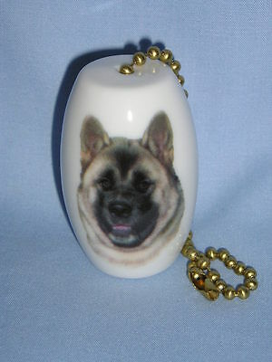 Akita Dog Fan & Light Pull Porcelain Fired Head Decal 6 In Chain