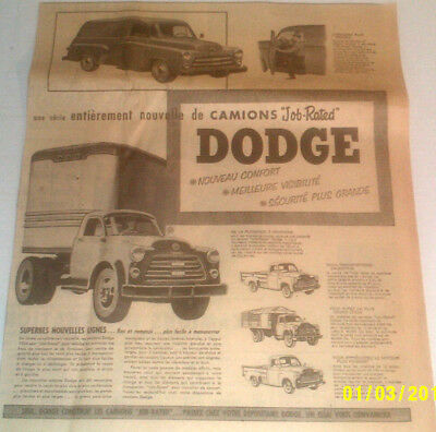 1953 Dodge Job-Rated Heavy Trucks. Original Ad In French
