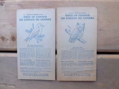 Nabisco Shredded Wheat Birds Of Canada Collector Cards Advertise Lot Of 2 Owl