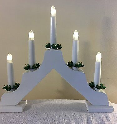 Christmas workshop 10 led wooden battery operated candle for Arch candle christmas decoration