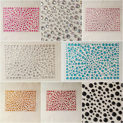 325 Mixed 2mm, 3mm, 4mm, 5mm Self Adhesive Stick on Flat back Rhinestone Gems