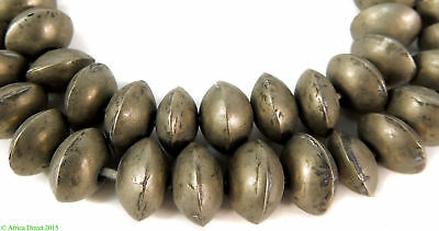 Ethiopian Silver Metal Beads Old Biconal Africa