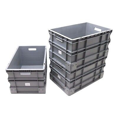 Used 3 x Strong Large Heavy Duty Plastic Stackable Storage Containers Box Boxes