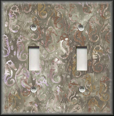 Metal Light Switch Plate Cover Seahorse Pattern Beach Coastal Decor Brown
