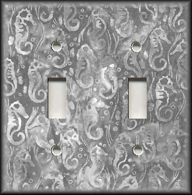 Metal Light Switch Plate Cover Beach Seahorse Pattern Beach Coastal Decor Grey