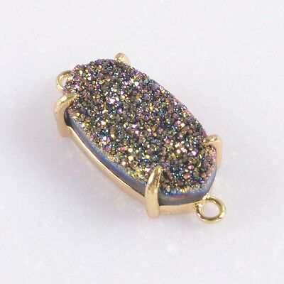 Natural Agate Titanium Druzy Claw Prong Connector Gold Plated H93364