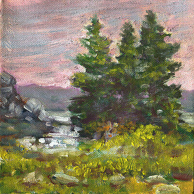 State Park New York  6x6 in. Original oil on canvas Hall Groat Sr.