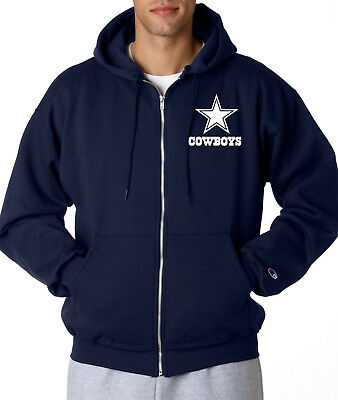 timeless design 13f5d 37390 DALLAS COWBOYS STAR Script Logo Champion ZIP-UP Hoodie Jacket Sweatshirt  Navy