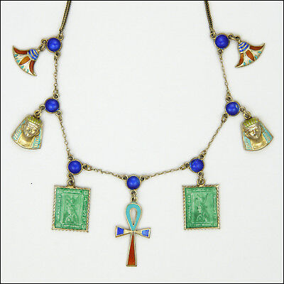Egyptian Revival Art Deco Silver Enamel Necklace with Charms