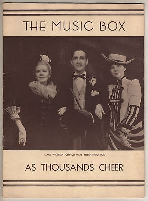 """As Thousands Cheer""  Playbill  1933  Ethel Waters, Marilyn Miller"
