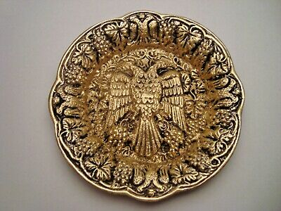 Greece vintage solid brass ashtray with Byzantine double headed eagle #12