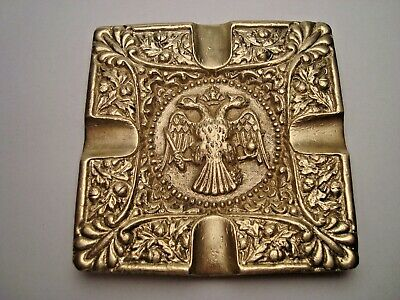 Greece vintage solid brass ashtray w/ Byzantine Double Headed Crowned Eagle #13