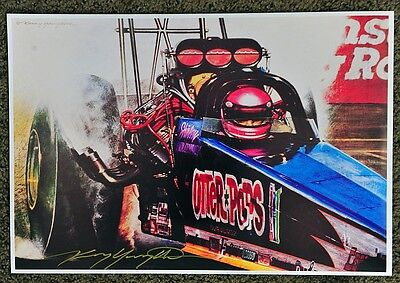New Kenny Youngblood Signed Otter Pops Dragster Shirley Muldowney Print