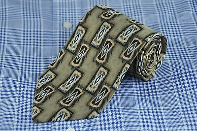 JZ Richards Men's Tie Gold & Brown Geometric Printed Silk Necktie 58 x 3.5 in.