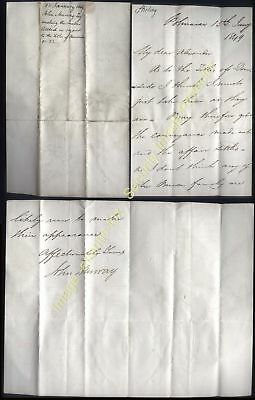 1849 STIRLING, Polmaise Castle, letter from Col John Murray, 23rd Laird
