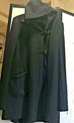 Auth CopCopine Hooded  asymmetric closure coat 100% Wool French size 44 US L NWT