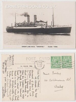 Early Postcard, Ships,  R M S Orontes, Orient Line, 1930, RP