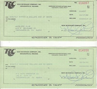 NEHI BEVERAGE COMPANY INC. RC  TWO CHECKS DATED 1981s