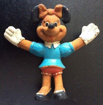 VINTAGE RUBBER BENDY  Minnie MOUSE - Rare English Walt Disney License Version