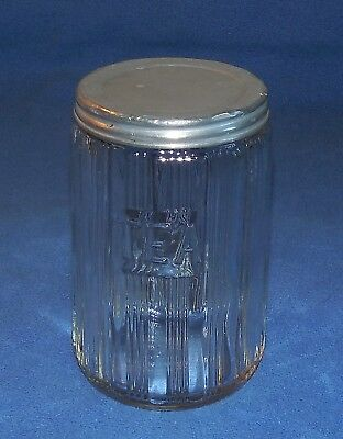 Vintage Hoosier Ribbed Glass Canister With Tin  Lid - Circa 1930's - 40's