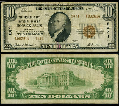 Hoosick Falls NY $10 1929 Ty 2 National Bank Note Ch #2471 Peoples FNB Fine