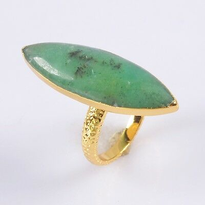 Size 5.5 Australia Natural Chrysoprase Ring Gold Plated H93487
