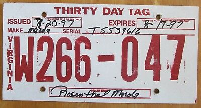 VIRGINIA TEMPORARY LICENSE Plate X205-704 - US SELLER - $12 99