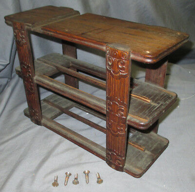 Left Antique Ornate Oak Wheeler & Wilson Treadle Sewing Machine Drawer Frame